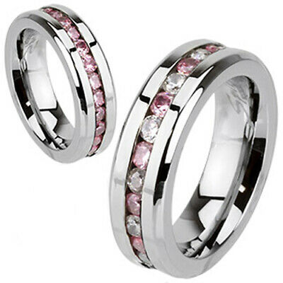 316L Stainless Steel Pink & Clear CZ 2-Sided Eternity Wedding Band Ring Size 5-9
