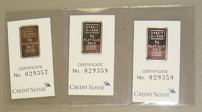 Lot of (3) Credit Suisse .9995 Fine 5 Gram Platinum Bullion Bars