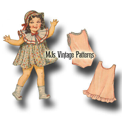 """Vtg 30s Pattern ~ for 22"""" Patsy Lou Shirley Temple Composition Doll Dress & Hat"""