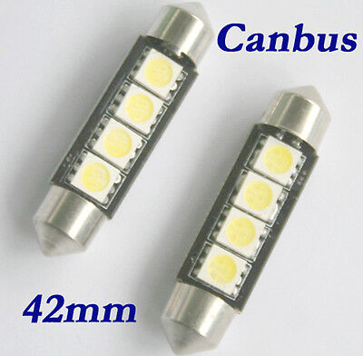 Auto SMD LED Soffitte Lampe C10W 42mm 12V 4 5050 Weiss Innenraum Beleuchtung
