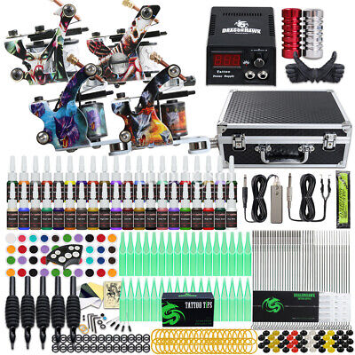 Tattoo Kit 4 Machines Gun 40 color Inks Power supply needles Grip Tip set D120HD