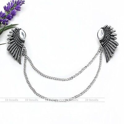 1pc Antique Silvery Angel Wing Crystal Collar Shirt Brooch Tassel Necklace Jewel