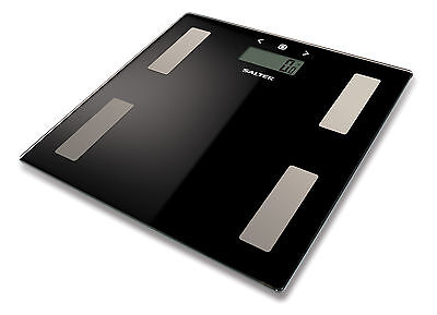 Salter 180kg Electronic Digital Bathroom Analyser Scale - Black Glass - New