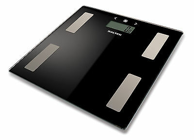 Salter Body Fat Scale - Ultra Slim Glass Electronic Digital Bathroom Scale Black