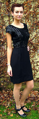 Vintage 1950's black sequined cocktail dress S