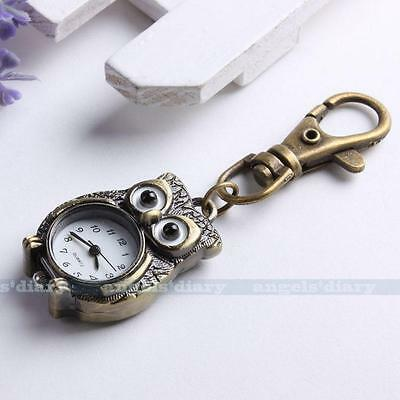 Brone Tone Owl Key Ring Chain Pendant Pocket Quartz Watch Kid Gift