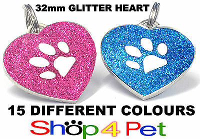 NEW Pet ID Tags 32mm REFLECTIVE GLITTER HEART TAG, With or Without ENGRAVING