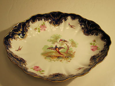 """Royal Dolton Alfred Pearce Bludgate Hill Birds & Pink Roses Decorated 10"""" Bowl"""