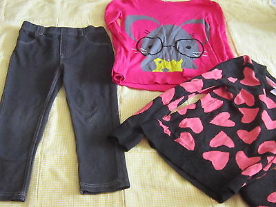 Lot of jeggings and heart & mouse cute sweater fall winter girls lot  5 6 fun
