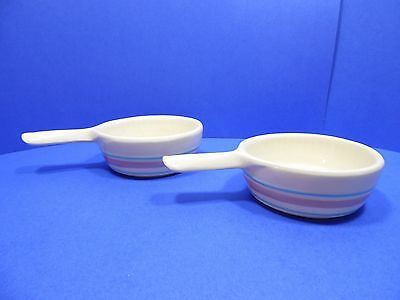 McCoy Pottery Pink & Blue Stripe French CasseroleSet of 2 Bowl with Handle USA