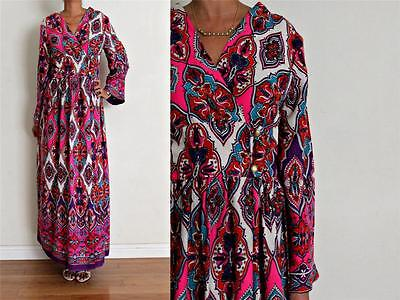 vtg Multi ETHNIC COTTON CROSS FRONT KIMONO SLEEVE MAXI Dress M