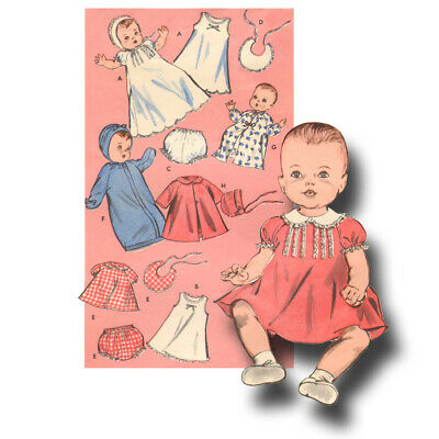 """Vintage Baby Doll Clothes Pattern ~ 11"""" 12"""" Tiny Tears, Betsy Wetsy, Dy Dee"""