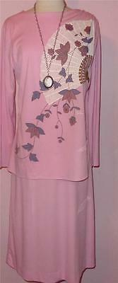 Gorg Vtg 70s ALFRED SHAHEEN Pink Asian Silkscreen Fan Draping Dress 14 L