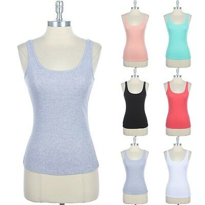 5bf57f5a70e Basic Solid Cotton Round Neck Tight Ribbed Tank Top Casual Easy Wear Comfy  S M L