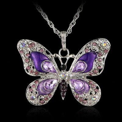 6 Colors Fashion Women Crystal Rhinestone Butterfly Pendant Necklace Long Chain