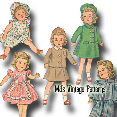 """Vtg 40s Dress, Coat Doll Clothes Pattern ~ for 13"""" 14"""" Shirley Temple, Patsy"""