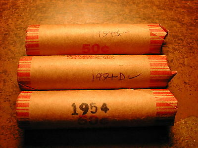 1954-PDS LINCOLN WHEAT CENT ROLL SET, 3 rolls, 1 roll P, 1 roll D, 1 roll S