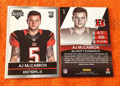 2014 Panini Black Friday RC #5 A.J. MCCARRON Bengals/Alabama White Rookie - QTY