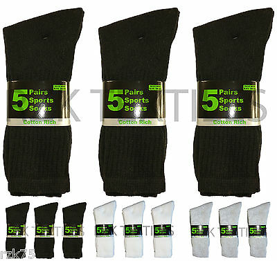15 Pairs Of Men's Sport Socks, Black Cotton Rich Cushion Sole Socks, Size 6-11
