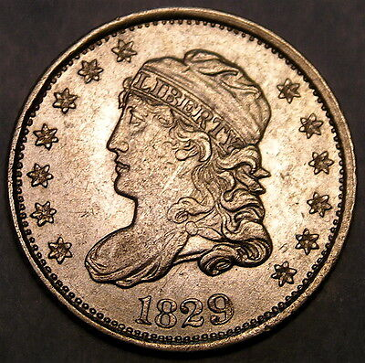 1829 Capped Bust Silver Half Dime Urs 2 Extremely Rare 9 Over 3 Appealing Beauty