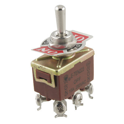 On/Off/On 3 Way DPDT Momentary Toggle Switch AC 250V 15A w 6 Screw Terminals