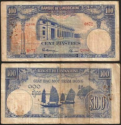 FRENCH INDO-CHINA 100 Piastres 1946 VG P 79