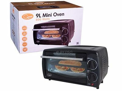 Quest 9 Litre Compact Mini Oven 800 Watts with Thermostat Timer in Black  - NEW