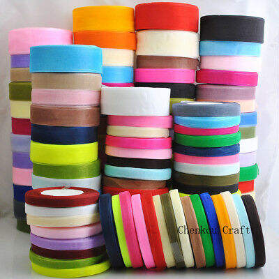 Lots Upick 50Yard/roll Mix Color/Size Organza Ribbon DIY Craft Wedding S001-S165