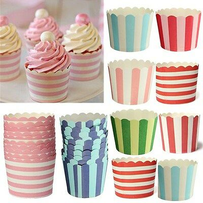50pcs Striped Cupcakes Baking Paper Cups Muffin Fit Home Kitchen Wedding Party