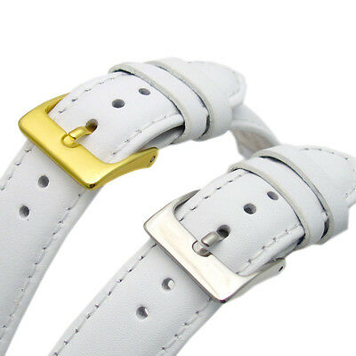 White Leather Watch Strap Band Choice of Sizes 16mm 18mm 20mm 22mm