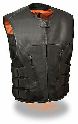 Mens Black Leather SWAT Style Zipper Front Motorcycle Vest