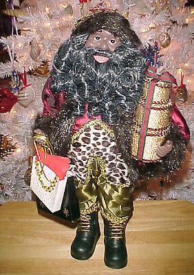 """African American Shopping Santa Figurine~18"""" Tall~Awesome~FREE Priority SHIPS!"""
