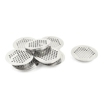 Kitchen Stainless Steel 53mm Dia Round Mesh Hole Air Vent Louver 8 Pcs
