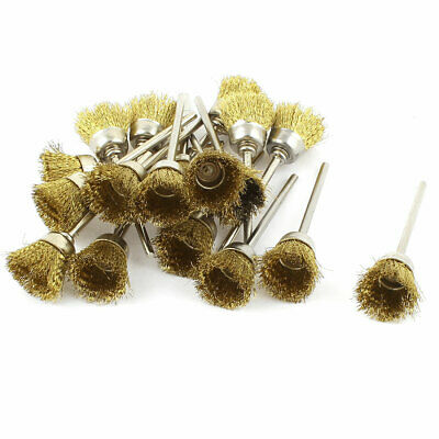 18 Pcs 2.3mm Shank 15mm Cup Shape Brass Wire Polishing Brush for Rotary Tool