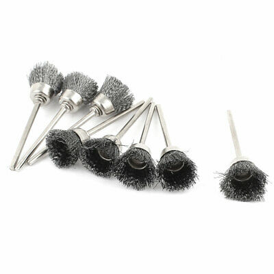 8 Pcs 2.3mm Shank 15mm Cup Shape Stainless Steel Wire Brush for Rotary Tool