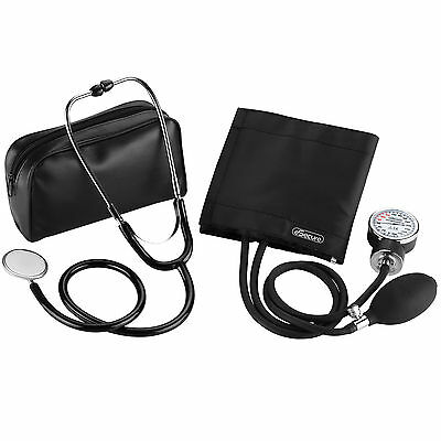 Aneroid Sphygmomanometer Blood Pressure Monitor Meter + Stethoscope Medical Kit