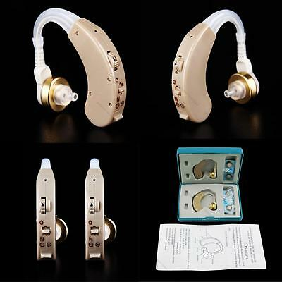 A Pair of #L Digital Hearing Aid Kit Behind the Ear BTE Sound Voice  Amplifier