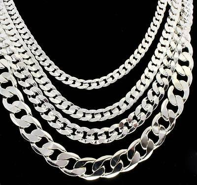 "Mens Silver Tone Miami Cuban Link Chain 6mm-12mm Necklace 20"" 24"" 30"""