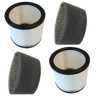 2x HQRP Cartridge Filters & Foam Sleeves for Shop-Vac 90585 905-85-00 903-50-00