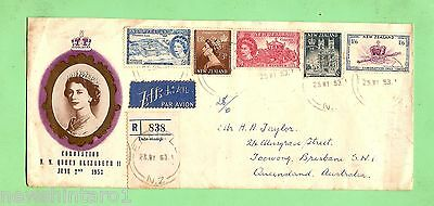 #d6. 1953 New Zealand Sent Cover For Coronation Of Queen Elizabeth Ii, Air Mail
