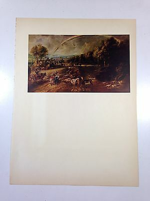 "1954 Vintage Full Color Art Plate ""LANDSCAPE WITH RAINBOW"" by Rubens Lithograph"