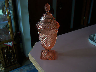 """Miss America pink 11 1/2"""" covered candy jar"""
