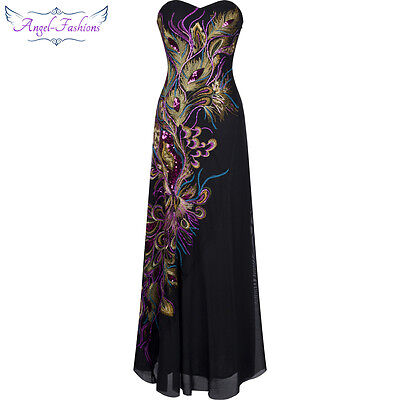Angel-fashions Women Peacock Embroidery Sequin Maxi Evening Long Prom Dress 100