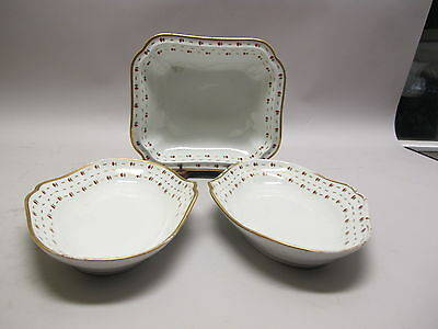 Early Set of Three 19th C. Worcester (England) Serving Dishes  c. 1820 porcelain