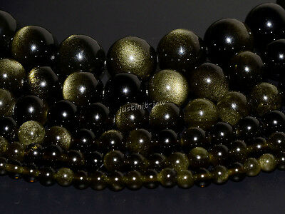 """Natural A grade golden obsidian round beads strand 4mm to 18mm 15.5"""""""