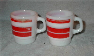 VINTAGE FIRE KING LOT of 2 RED STRIPE COFFEE CUPS MUGS SOME WEAR