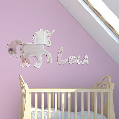Acrylic Mirror Unicorn Childrens Name Wall Plaque Disney Girls Kids Bedroom