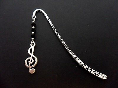 A Pretty Tibetan Silver Musical Note Charm Black Crystals Bookmark. New.
