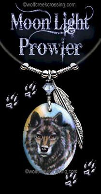 "Moonlight Prowler Wolf Necklace - Western Wildlife Art Wolves - Free Ship  24""l*"