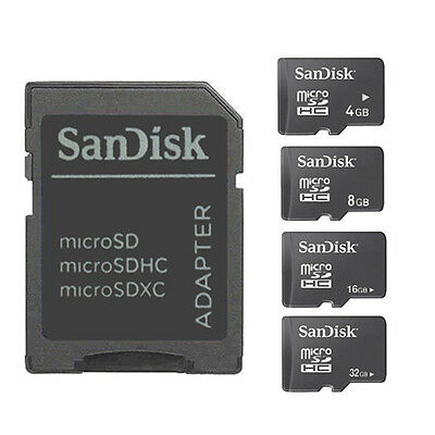 SanDisk 4GB/8GB/16GB/32GB Micro SD SDHC Flash Memory TF card with Adapter